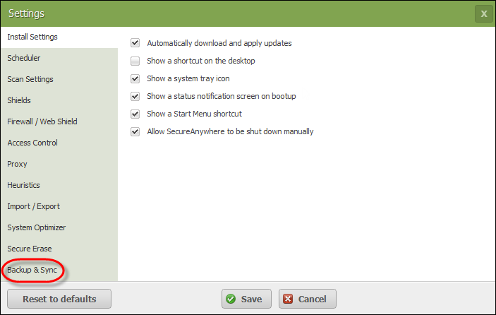 Changing Backup & Sync Settings